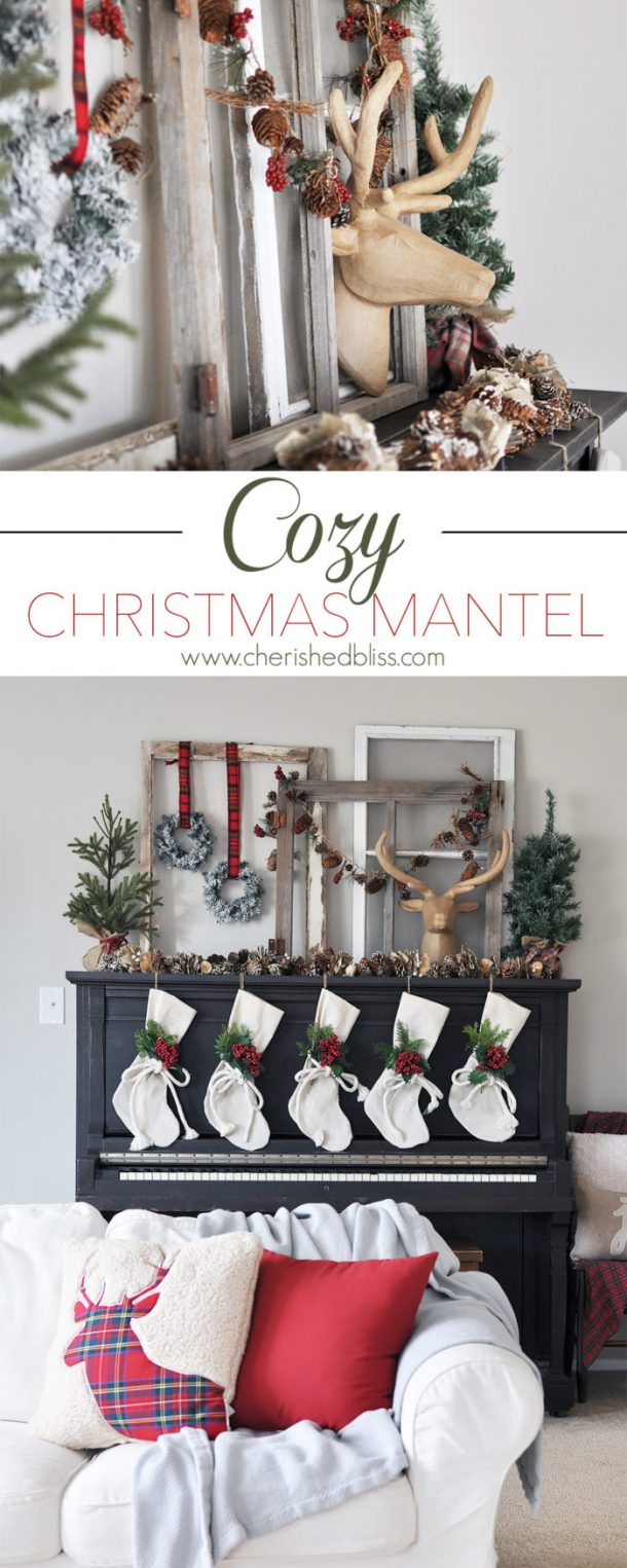 Great idea to use your upright piano to decorate if you don't have a fireplace! | Cherished Bliss - Christmas and Winter Mantel Displays and Decorations Ideas