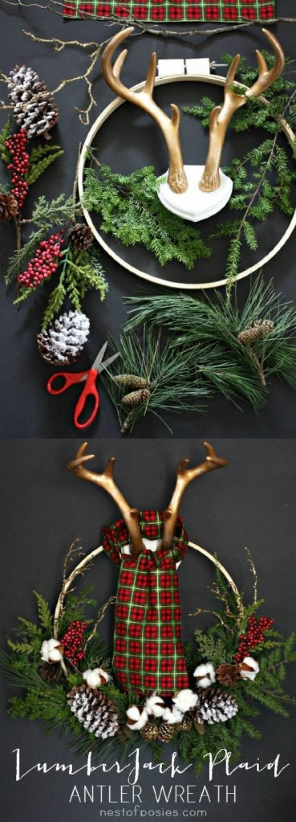 Lumber Jack Antlers and Plaid Christmas Wreath DIY Tutorial | Nest of Posies
