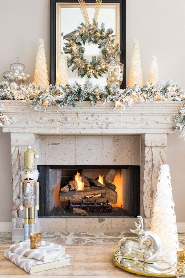 Mixed Metallic Holiday Mantel Decor Ideas | Design Improvised - Christmas and Winter Mantel Displays and Decorations Ideas