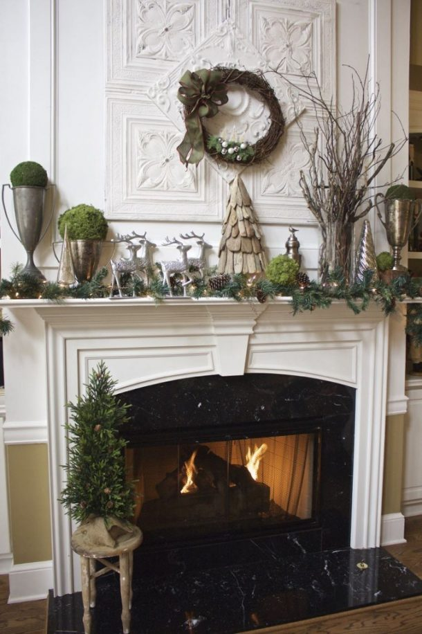Natural Rustic Elements and Reindeer Theme Winter Christmas Mantel Ideas | 2 Bees In a Pod