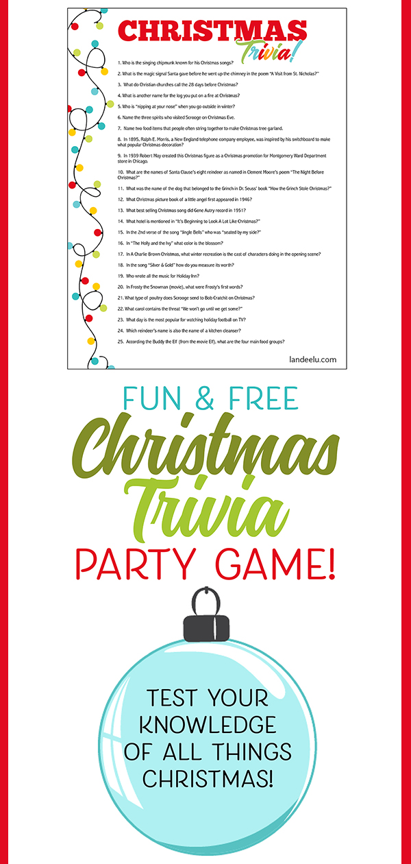 Free download! Easy to print and pass out to party guests to see who knows the most about Christmas! #christmastrivia #christmasgame #christmasparty #christmasprintable
