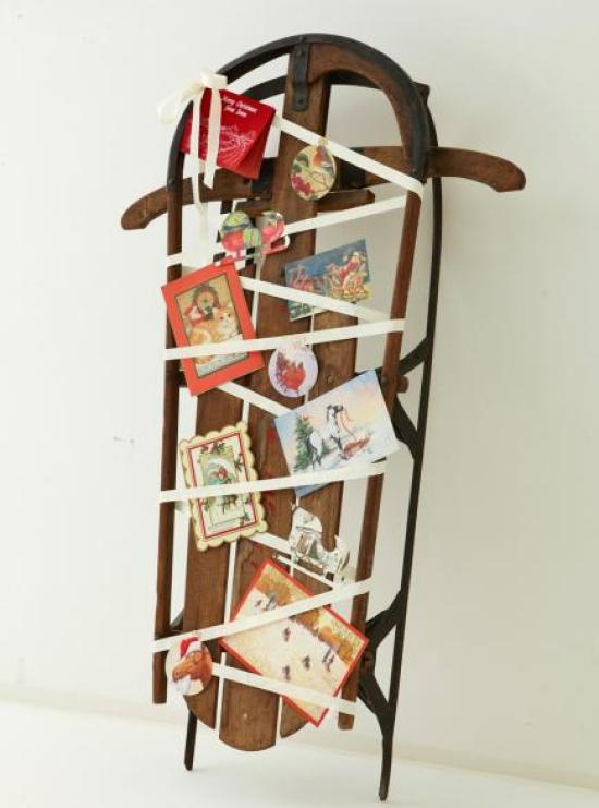 Use a vintage sled as your Christmas Card and Holiday Photo Display | Midwest Living