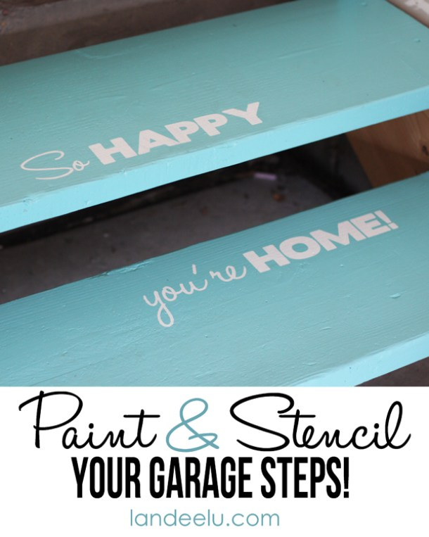 Garage steps can be pretty too! Paint and stencil your garage steps DIY Tutorial | Landeelu