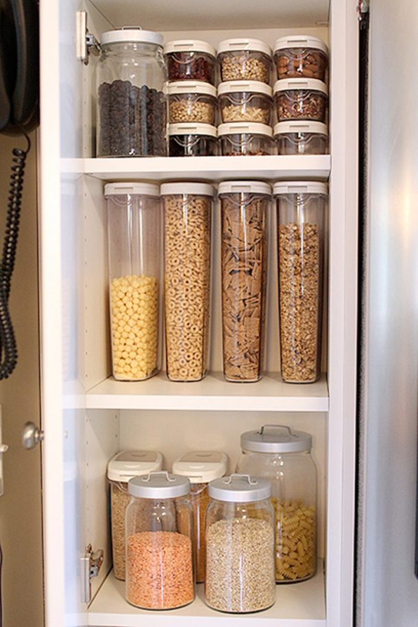 Use clear containers so you can always see what is inside AND how low you are getting to make creating your grocery list easy peasy! | The Perfect Pantry