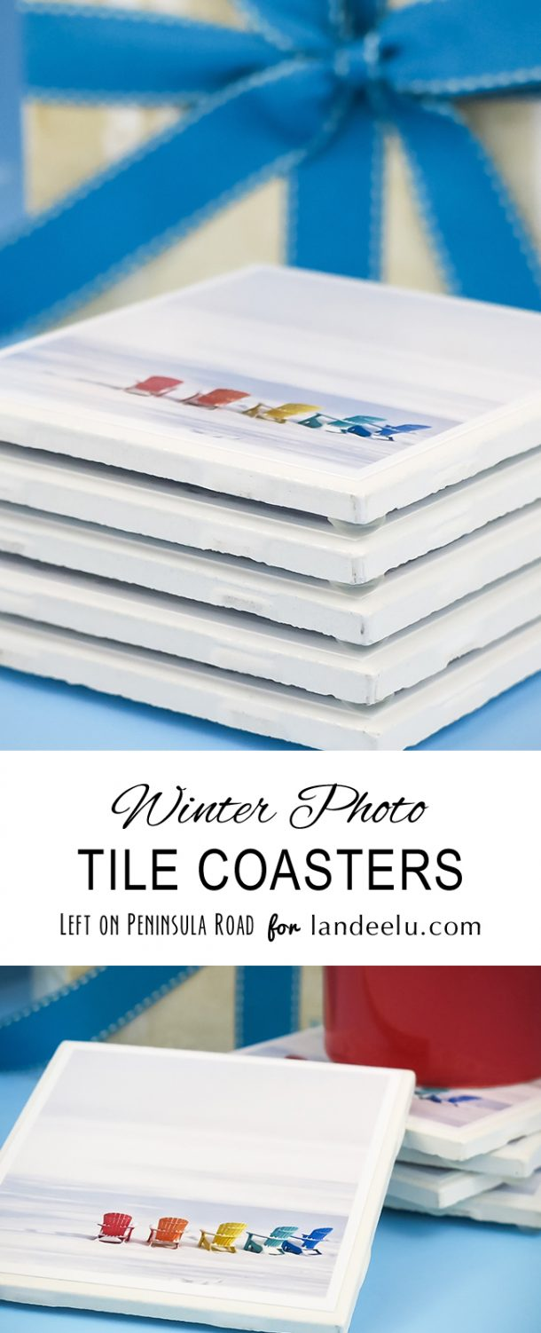 Box up an extra set or two and tie with pretty bows to keep on hand for last-minute gifts! Winter Craft: DIY Winter Drink Photo Coasters Set | Landeelu - Great gift idea!