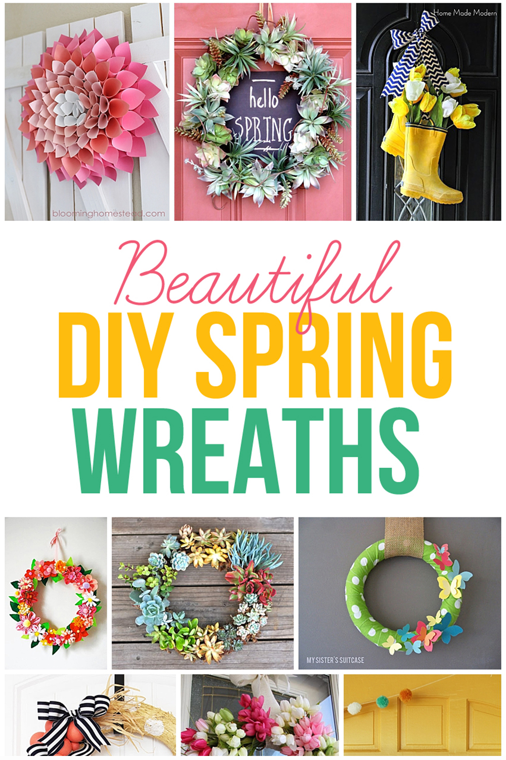 Get your craft on and make some one of these beautiful DIY spring wreaths this year! #springdecor #diywreaths #handmadewreaths #diyspringdecor