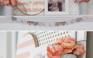 A pretty gold and pink Valentine's Day decor idea for the mantel!