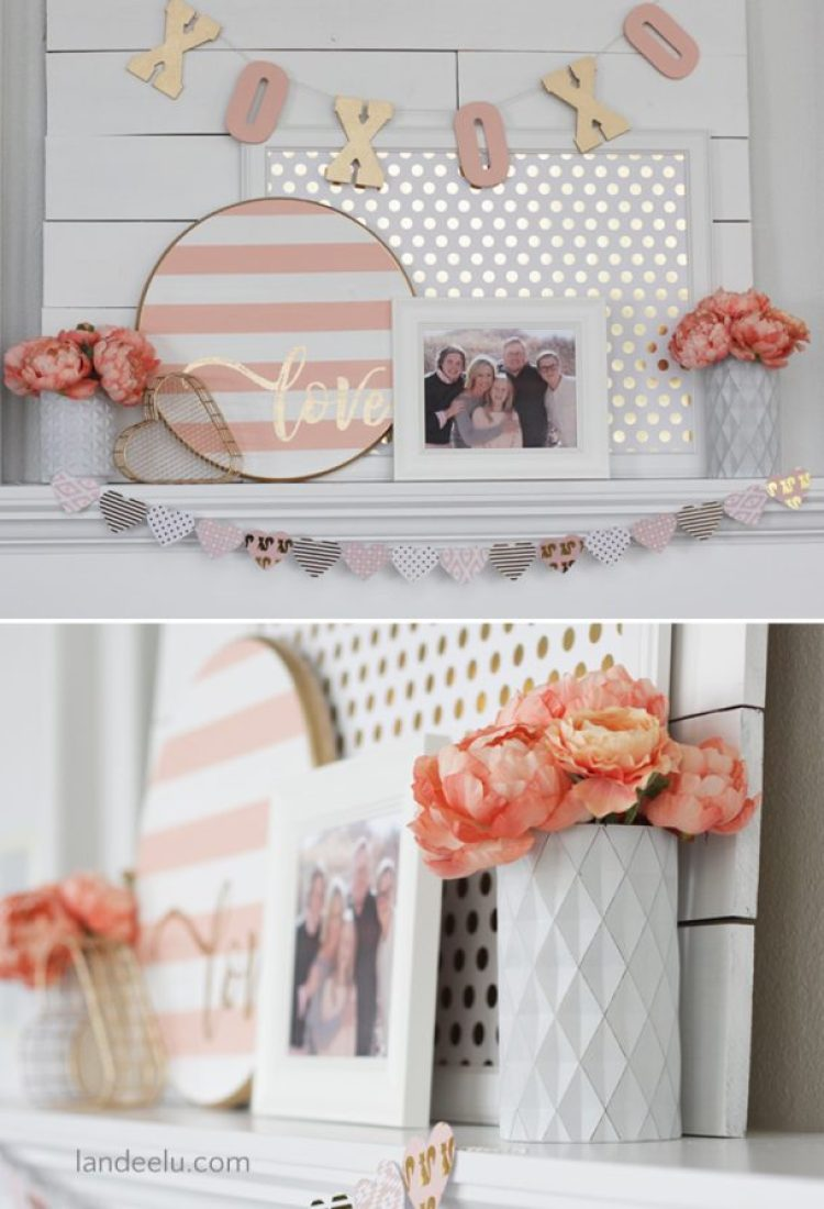 Valentine's Day Decor Pink and Gold Mantel