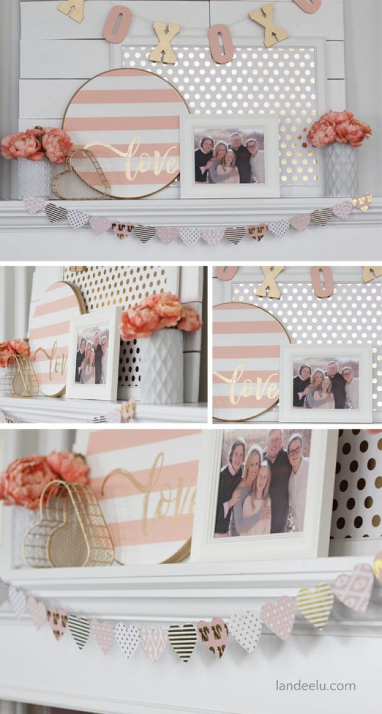 Valentine's Day Mantel Pink and Gold