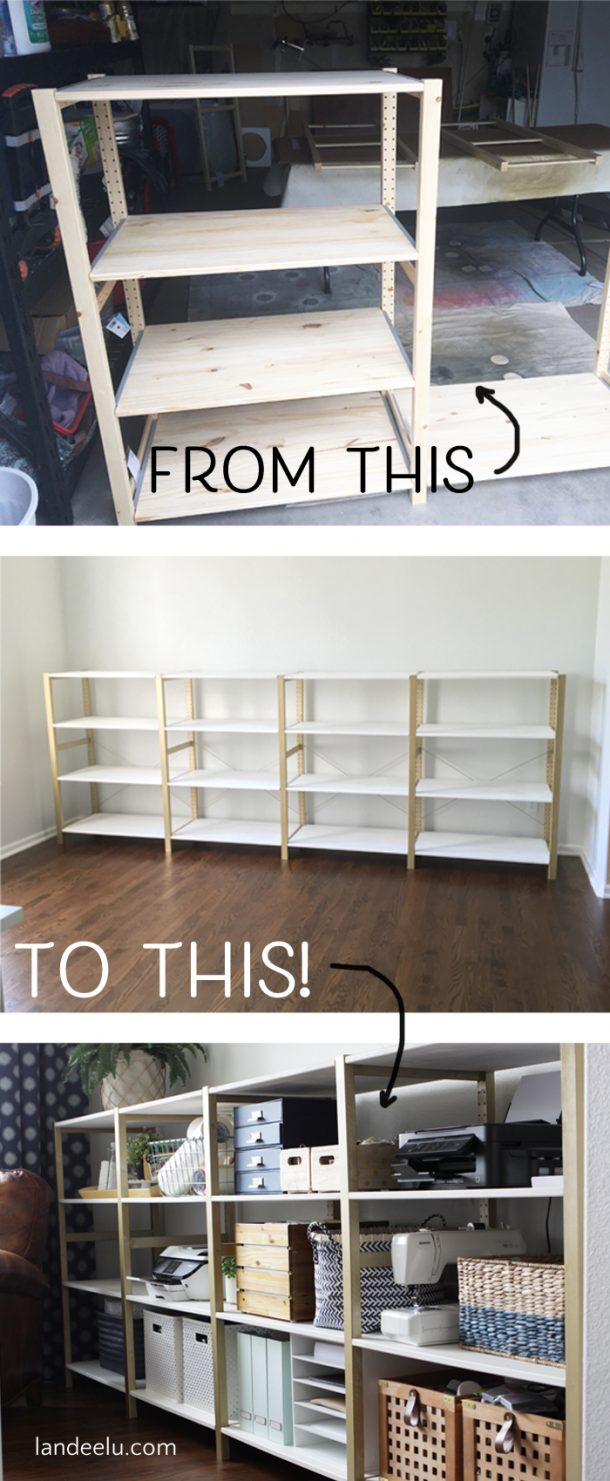 Cheap office shelving Diy Over 11 Linear Feet Of Chic Shelving Made From Super Cheap Ikea Storage Shelves This Edcomporg Ikea Hack Ivar Home Office Shelves Landeelucom