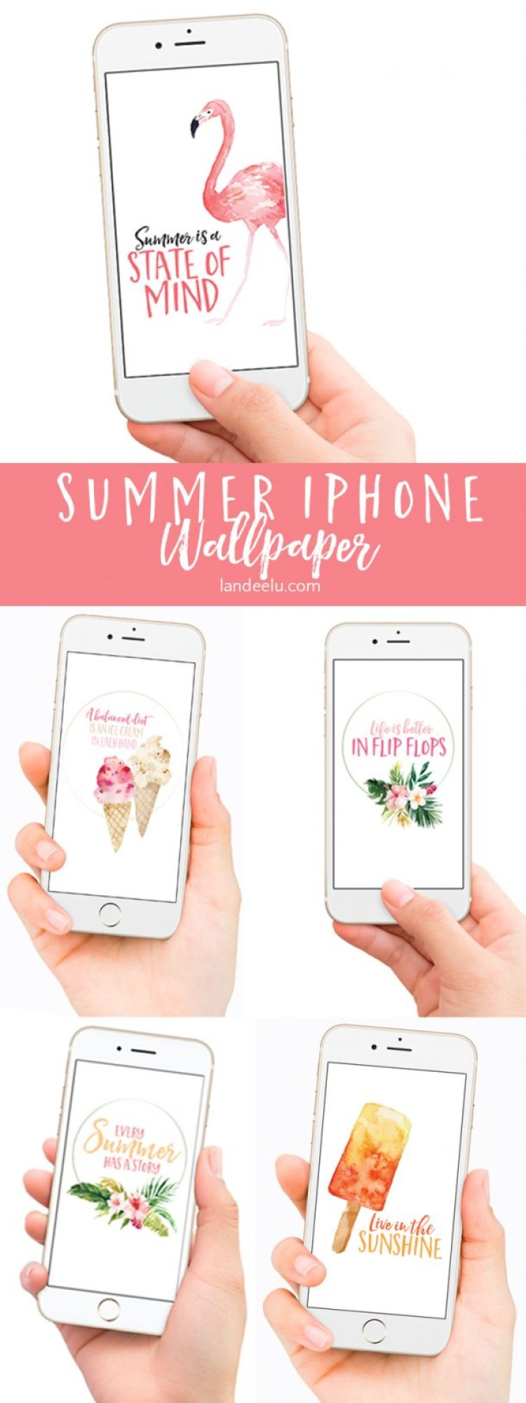 Change your iPhone wallpaper to go with the seasons! Darling summer iPhone wallpapers... 5 different designs!
