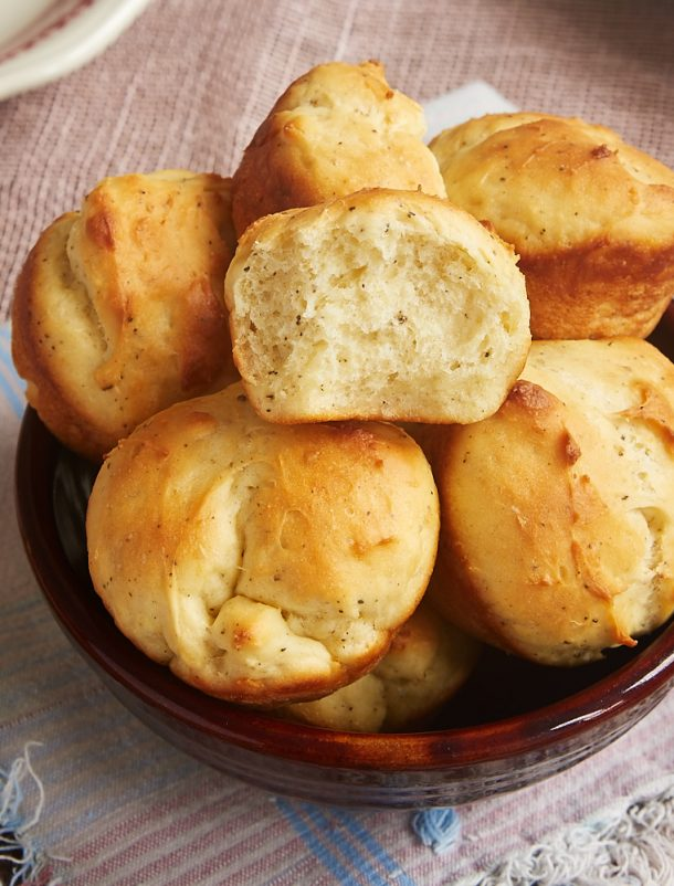 "Cracked Pepper Sour Cream Rolls Recipe | Bake or Break ""Get everything you love about homemade yeast rolls in a quick and easy package with these Cracked Pepper Sour Cream Rolls."""