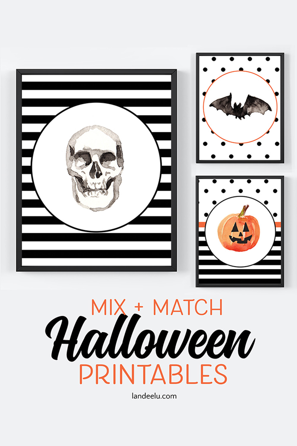 Darling mix and match Halloween printables available in many different sizes! #halloweendecor #halloween #halloweenprints #halloweenprintables