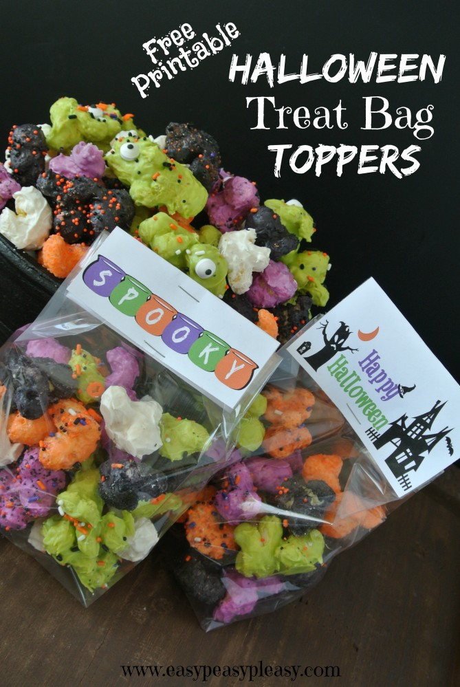 Free Printable Treat Bag Toppers are the perfect addition to those candy goodie bags this Halloween! - Easy Peasy Pleasy