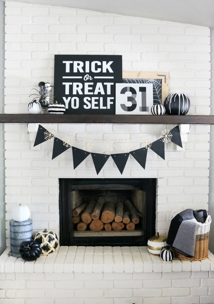 Black & White Halloween Mantel Decor | The Crafted Sparrow
