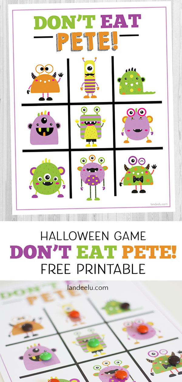 Love this monster version of Don't Eat Pete! I was looking for a Halloween game for kids to use in my son's classroom party this year. This is perfect! #halloweengame #freeprintable #donteatpete #kidsactivity #halloweenactivity