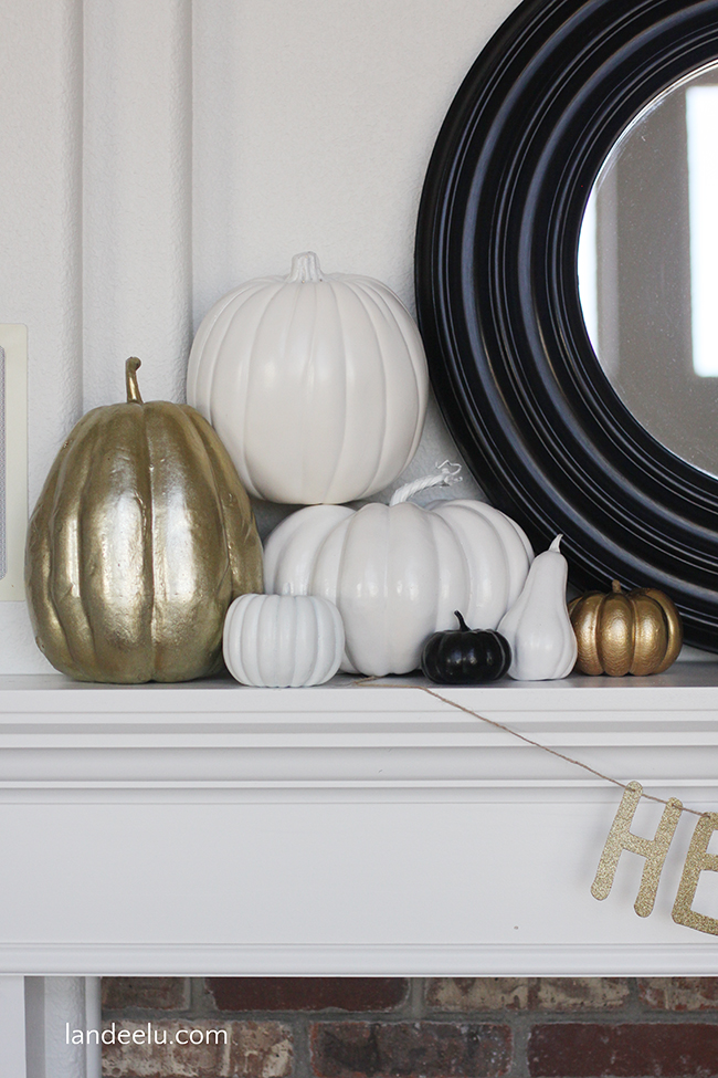 Create beautiful neutral fall decorations by simply spray painting your faux pumpkins!