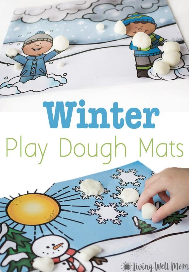 Free Printable Winter Playdough Mats Kids Activity | Living Well Mom