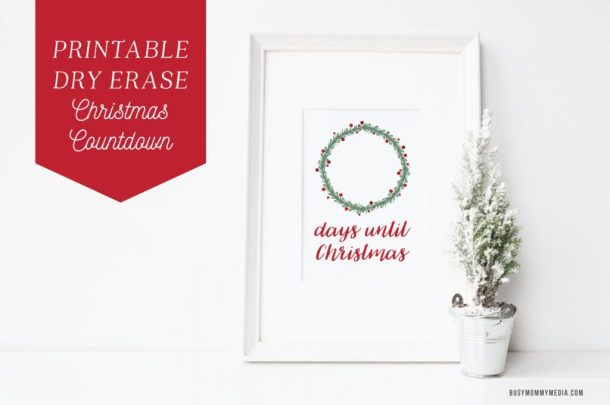 I love this! Print off this Christmas printable and put it in a frame. Use a dry erase marker to count down the days until Christmas. What a fun way to countdown until Christmas!   Printable Dry Erase Christmas Countdown | Busy Mommy Media