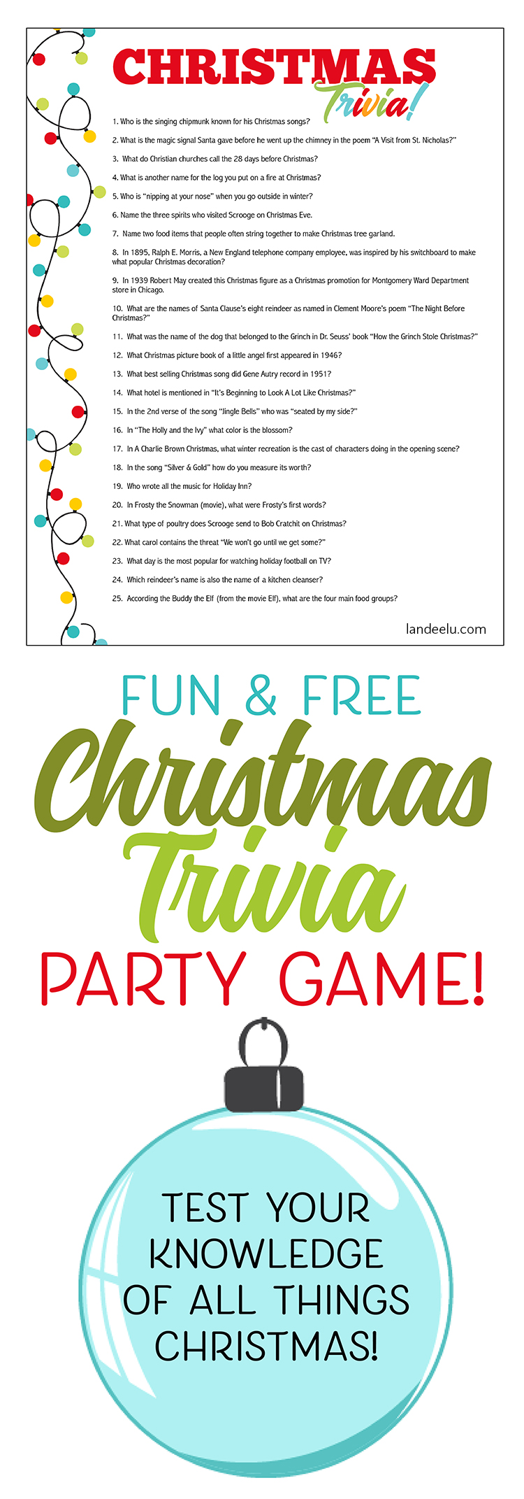 Free download! Easy to print and pass out to party guests to see who knows the most about Christmas!