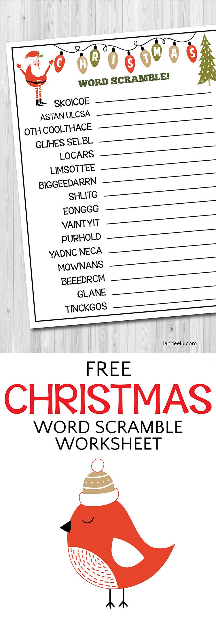 Christmas Worksheet Word Scramble   landeelu.com
