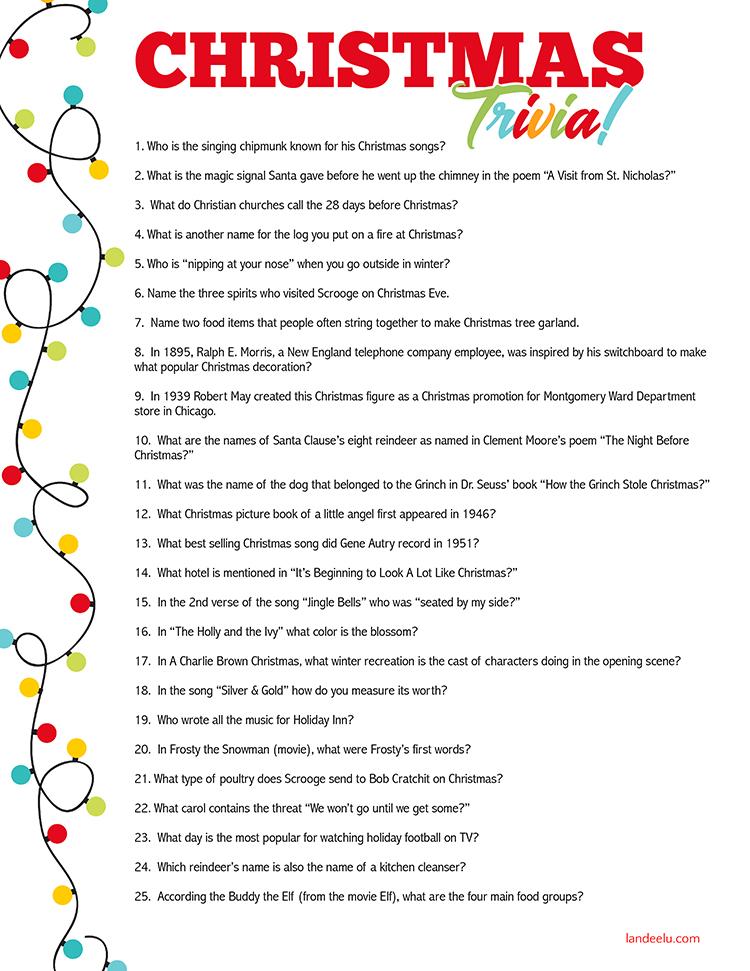 Christmas Trivia Game Perfect For Christmas Parties Printable Fun