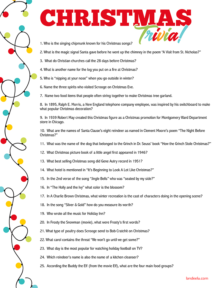 photo regarding Easter Trivia Printable identified as Xmas Trivia Recreation Suitable for Xmas Get-togethers
