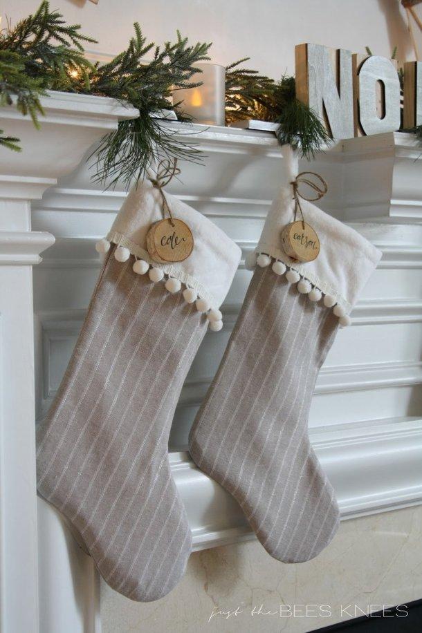 DIY Pom Pom Trim Christmas Stocking Tutorial | Sarah Langtry