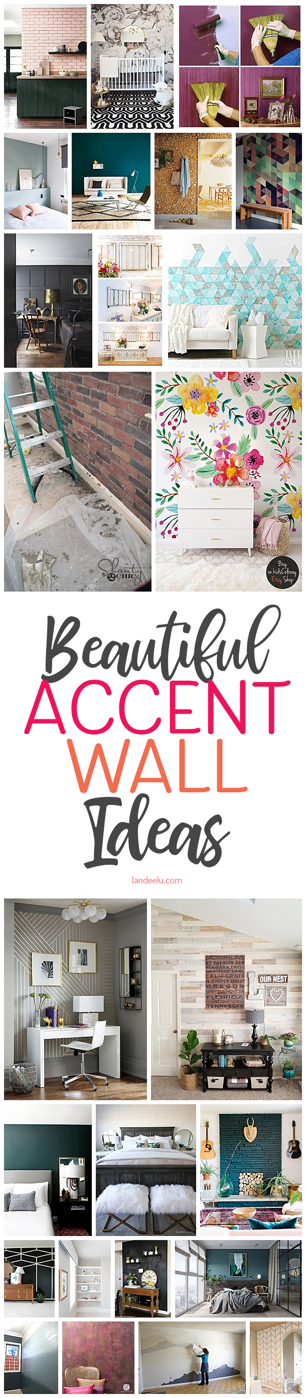 I love these accent wall ideas! So pretty!