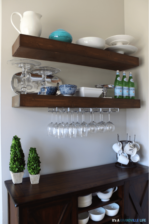 DIY Floating Buffet Shelves | Its a Grandville Life