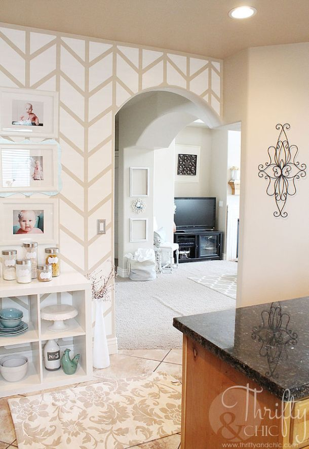 Herringbone Pattern Accent Wall | Home Talk
