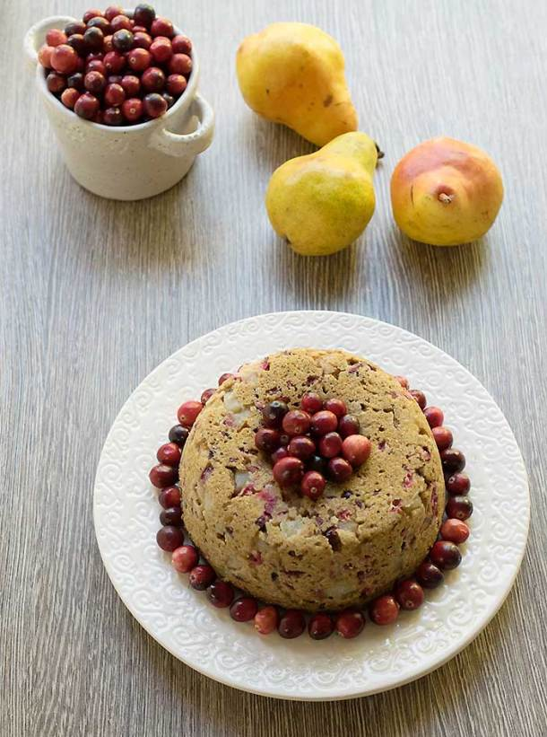 Instant Pot Vegan Pear and Cranberry Cake | Healthy Slow Cooking