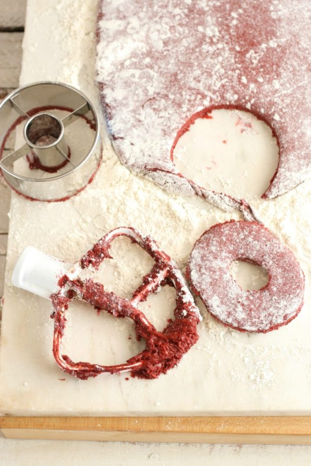 Red Velvet Cake Doughnuts | A Farmgirl's Kitchen