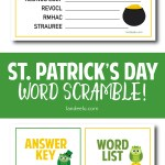 This would be such a fun St. Patrick's Day activity! Free printable word scramble! #stpatricksday #stpatricksdayactivity #freeworksheet #wordscramble #kidsactivity
