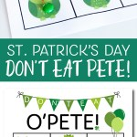 A favorite game for kids and adults! St. Patrick's Day game Don't Eat Pete! #stpatricksday #stpatricksdaygame #stpatricksdayprintable #donteatpete