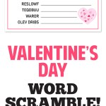 File includes word scramble, word list and answer key! Such a fun Valentine's Day activity! #valentinesday #valentine #wordsearch #valentineworksheet #valentineprintable #printable #holidayactivity