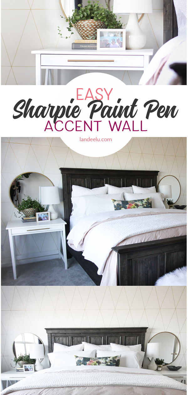 Super easy and fun accent wall idea to liven up a space just using a GOLD SHARPIE!  #accentwall #homedecor #budgetdecor #masterbedroom #interiordesign