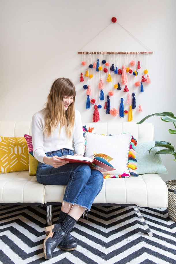 How to Make a Pom Pom and Tassel Wall Hanging | Brit+Co