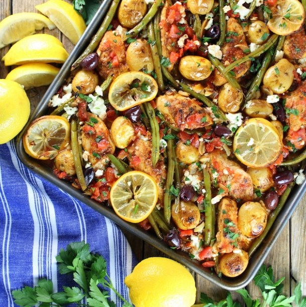 Greek Chicken Sheet Pan Dinner with Green Beans and Feta | Taste and See