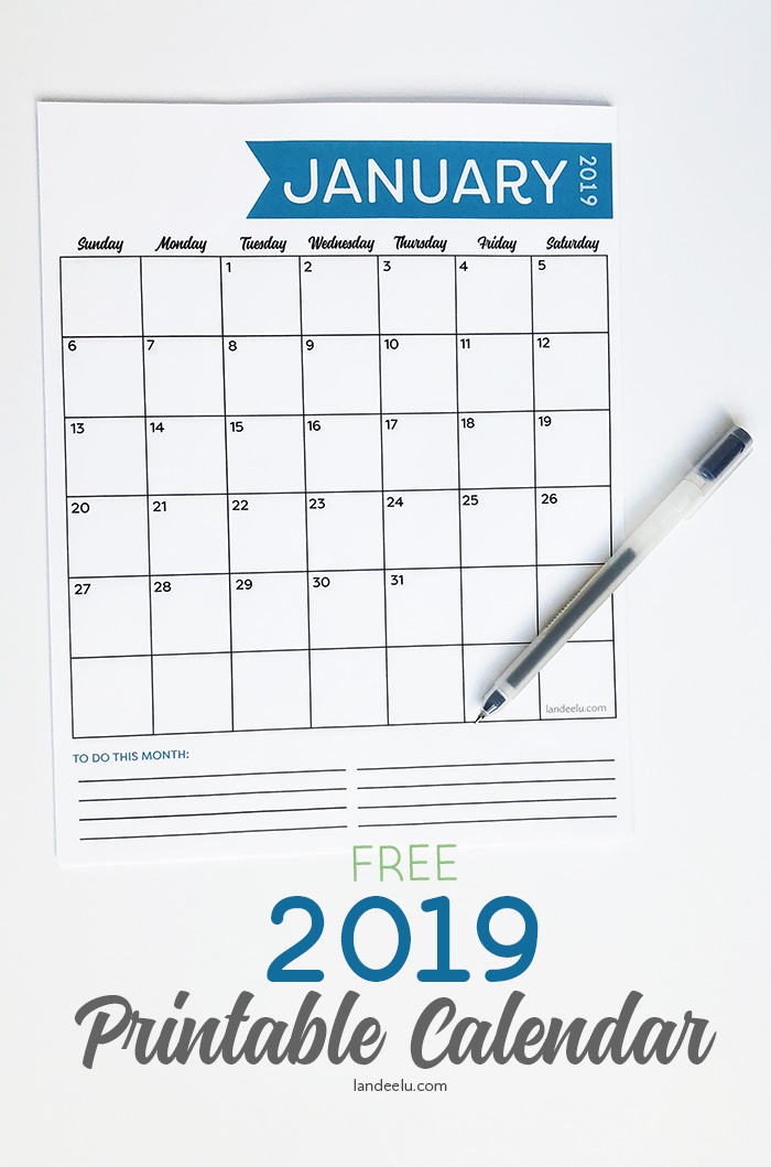 image about Vertical Calendar Printable titled Absolutely free 2019 Printable Calendar -
