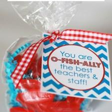 Fun Teacher Appreciation Week gift idea! You are O-FISH-ALLY the best teachers and staff! #teacherappreciation #teachergift #teacherappreciationweek #fishgiftidea #swedishfish