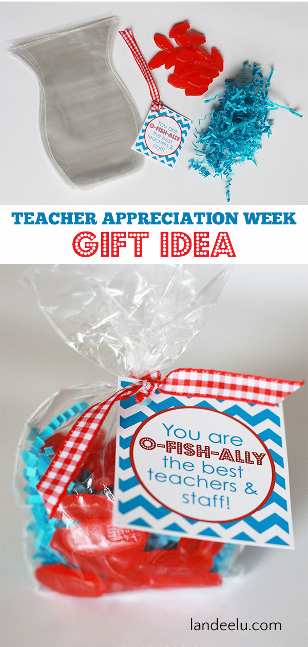 Fun Teacher Appreciation Week gift idea! You are O-FISH-ALLY the best teachers and staff! #teacherappreciation #teachergift #teacherappreciationweek #fishgiftidea #swedishfish
