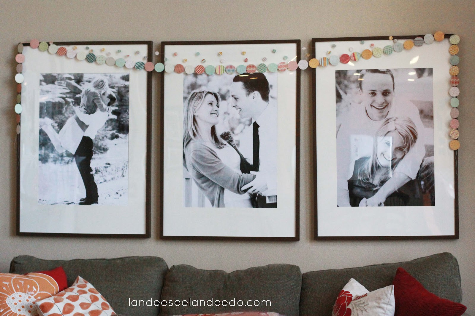 Wedding shower decorations landeelu i have had a lot of fun switching out the huge ikea ribba frames i have over my family room couch my christmas art my valentines day photos of my kids jeuxipadfo Choice Image