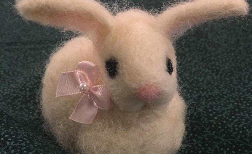 needle felted rabbit by Lisa Haldeman