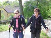 Diese beiden Pilgerinnen aus der Schweiz spielten spontan in einer kleinen Vorfilmszene mit