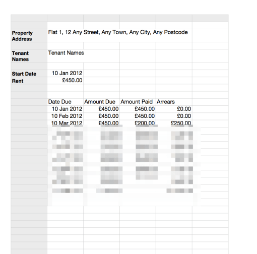 Rent statement schedule template