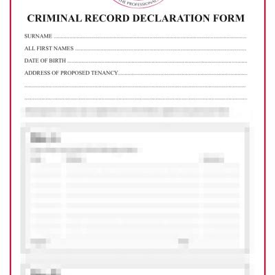 Criminal record declaration application for tenancy
