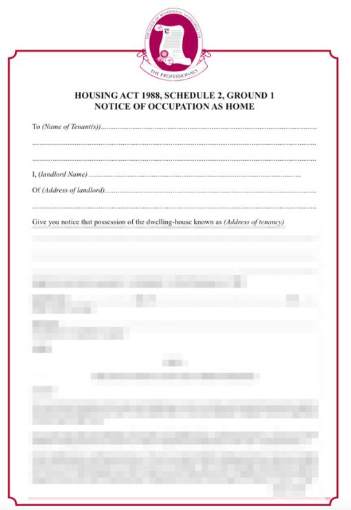 Ground 1 schedule 2 assured tenancy notice
