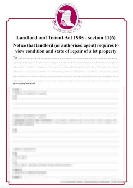 Section 11 notice of inspection to tenant