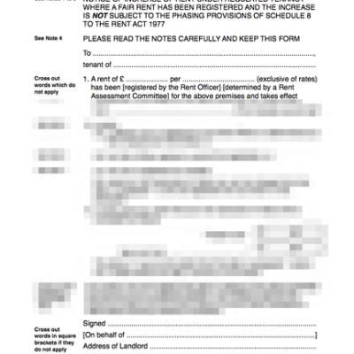Regulated tenancy rent increase form